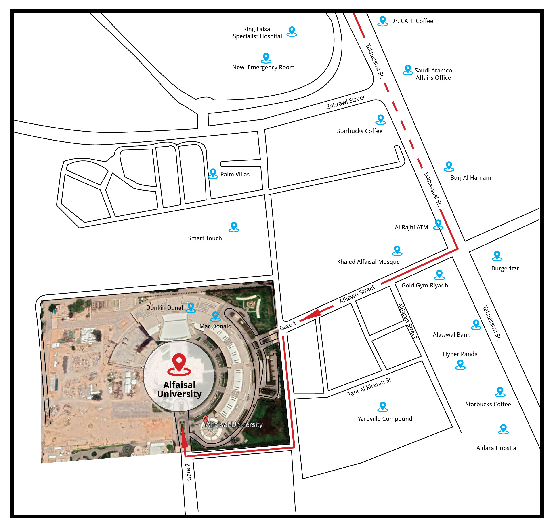 Location of Alfaisal University in Riyadh, Saudi Arabia.